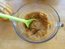 Oatmeal after the pumpkin is added